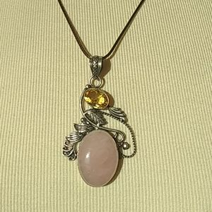 Jewelry - Silver Rose Quartz & Citrine Stones Necklace Peice